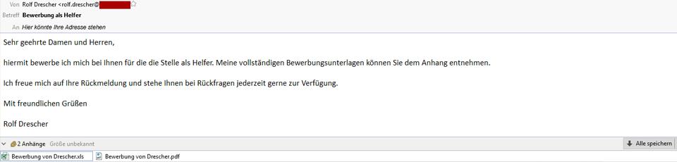 screenshot einer E-Mail mit Computer-Virus